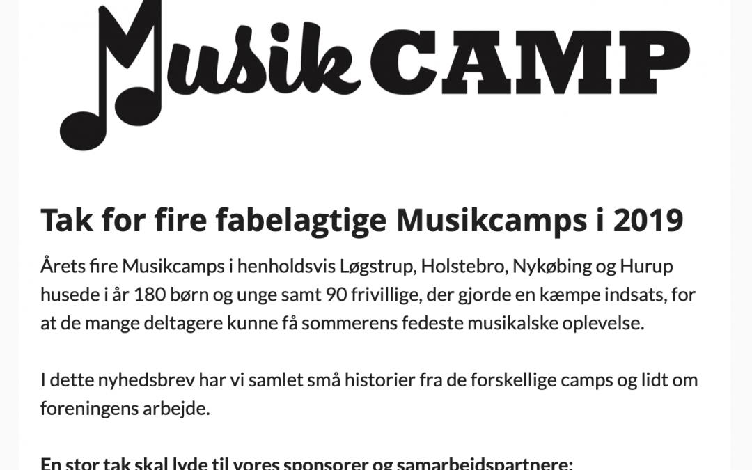 Nyhedsmail sendt ud til Musikcamps medlemmer